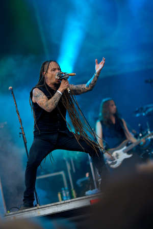 VIZOVICE - JULY 14: Amorphis live at Masters of Rock festival on July 14, 2011 in Vizovice, Czech Republic. Amorphis is melodic death metal band from Finland Stock Photo - 13182405