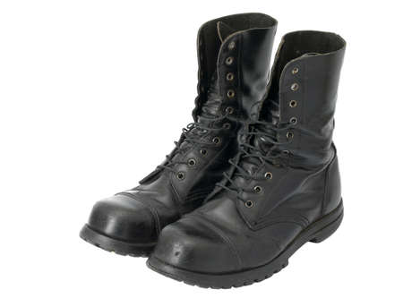 combat boots: A pair of leather steel-capped boots