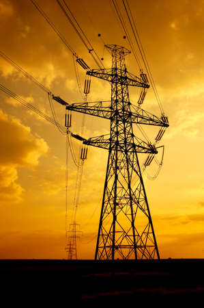 High voltage electric line in the sunset photo