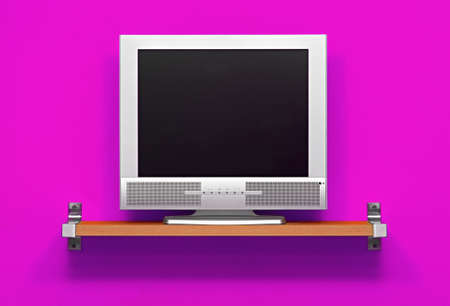flat screen tv: Small LCD tv in a purple room