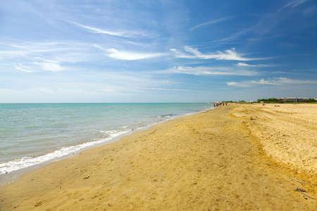 Sandy beach in sunny weather photo