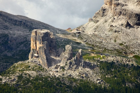 rock formations: Rock formations in the Dolomites (Cinque Torri) Stock Photo