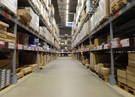 Warehouse with loaded shelves