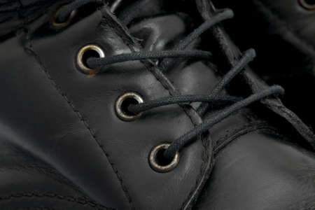 steel toe boots: Leather boots closeup