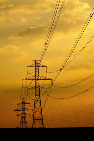 Electric line against sunset sky Stock Photo - 15904044