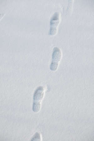Footprints in fresh white snow Stock Photo - 15904037