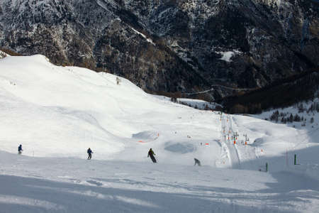 Skiing slope in the French Alpes Stock Photo - 15904042