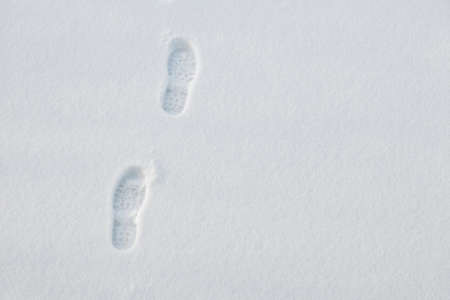 snow ground: Footprints in fresh snow