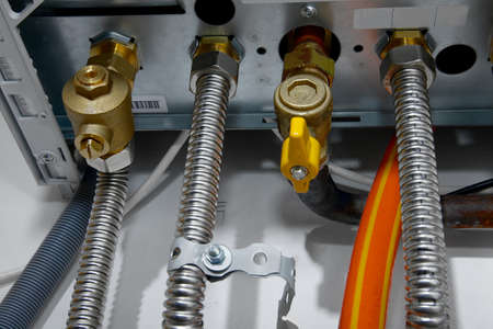 Closeup of pipes of a heating system