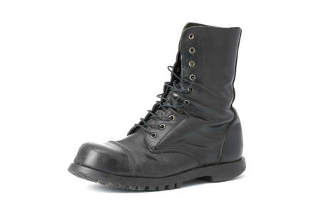 combat boots: Black leather boots isolated on white