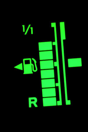 gas gauge: Fuel indicator on the dashboard of a car