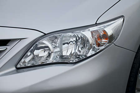 Closeup of the headlights of a car