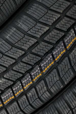 Closeup of winter tyre patterns photo