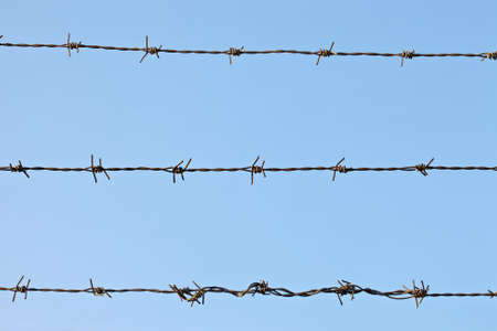 invade: Barbed wire fence against blue sky