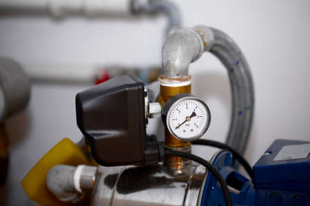 Detail of a compressor machine with manometer Stock Photo - 18222199