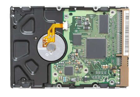 Computer harddisk back side with circuit board Stock Photo - 18223366