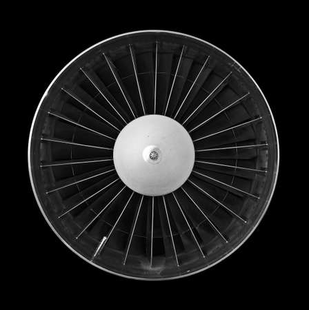 Jet turbine detail on black background photo
