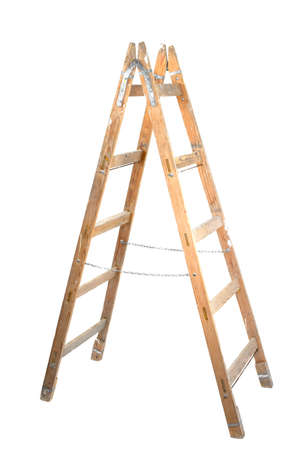 step ladder: Old wooden ladder isolated on white