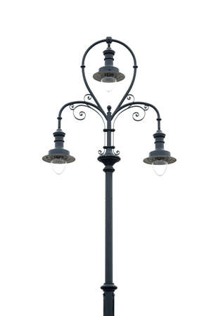 Old-fashioned street lamp isolated on white photo