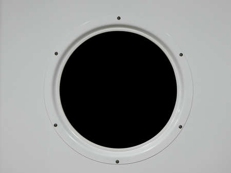 Metal porthole of a ship, black background, easy to change to your own photo