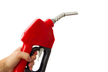 fueling pump: Holding a fuel nozzle against white background Stock Photo