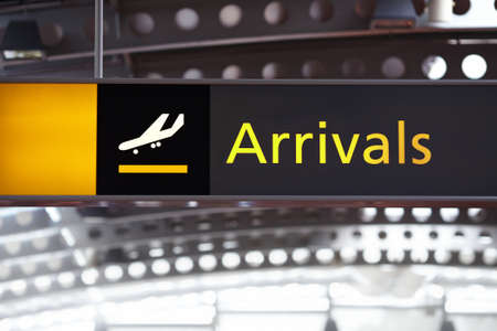 Arrival hall sign at an airport