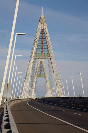 Highway bridge with tall pylons photo