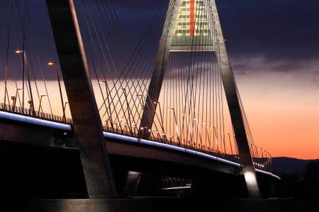 Highway bridge at night photo