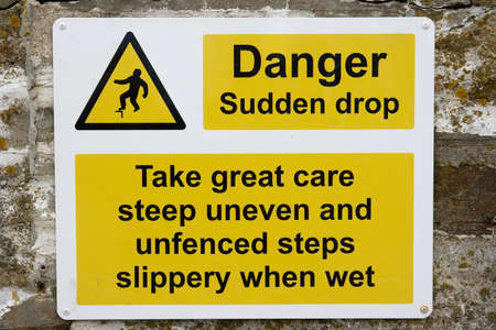 possibility: Warning sign for possibility of falling
