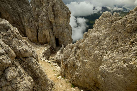 cave exploring: Rocky mountain path in the Dolomites