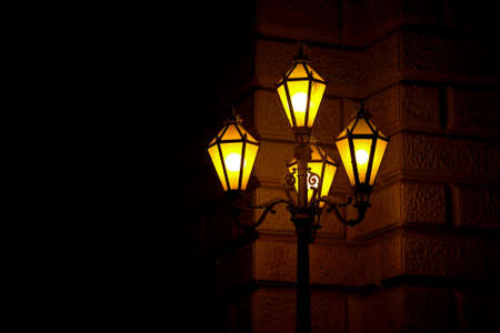 lamp post: Old fashioned street lamp at night Stock Photo