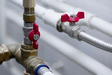 Pipes and valves of a heating system