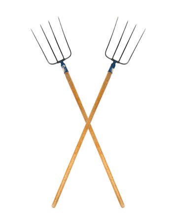 old items: Pitchforks isolated on white background