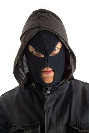 trespasser: Man in mask against white background Stock Photo