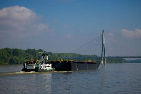 water transportation: Water transportation on the river Danube Stock Photo