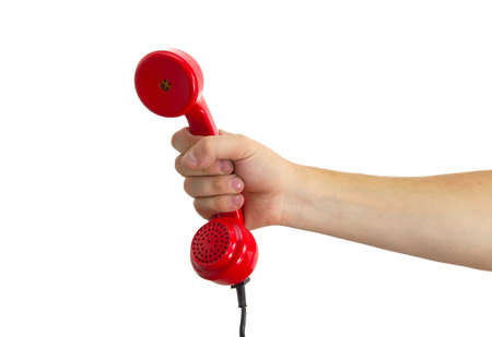 hang up: Telephone receiver in hand Stock Photo