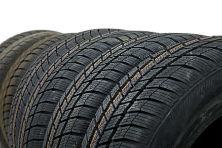 Car tyres in a row photo