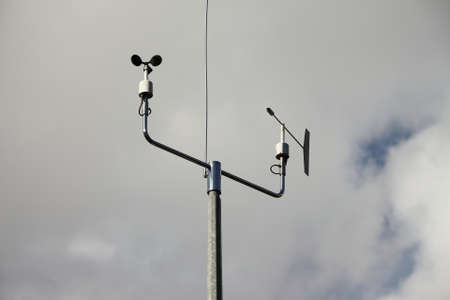 anemometer: Measurement instruments of a weather station Stock Photo