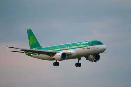 liszt: BUDAPEST, HUNGARY - MAY 5: Airliner of AerLingus approaching Budapest Liszt Ferenc Airport, May 5th 2012. AerLingus is Irelands largest airline. Editorial