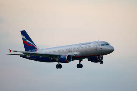 liszt: BUDAPEST, HUNGARY - MAY 5: Aeroflot A320 approaching Budapest Liszt Ferenc Airport, May 5th 2012. Aeroflot is Russias flag carrier and largest airline.
