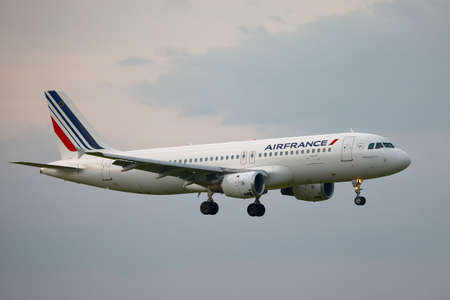 liszt: BUDAPEST, HUNGARY - MAY 5: Air France A320 approaching Budapest Liszt Ferenc Airport, May 5th 2012. Air France is the national flag carrier airline of France with a fleet of 254 (as of 2013). Editorial