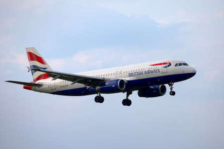 liszt: BUDAPEST, HUNGARY - MAY 5: British Airways A320 approaching Budapest Liszt Ferenc Airport, May 5th 2012. British Airways if the flag carrier airline of the United Kingdom, operating a fleet of 256 aircrafts. Editorial