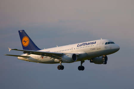 liszt: BUDAPEST, HUNGARY - MAY 5: Lufthansa A319 approaching Budapest Liszt Ferenc Airport, May 5th 2012. Lufthansa is the largest airline of Europe.