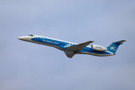 ceased: BUDAPEST, HUNGARY - MAY 5: Dniproavia aircraft climbing near Budapest Liszt Ferenc Airport, May 5th 2012. Dniproavia ceased all operations in early 2013