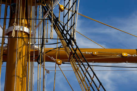 rigging: Mast and rigging of a sailing ship Stock Photo