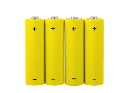 Set of AA batteries on white background photo