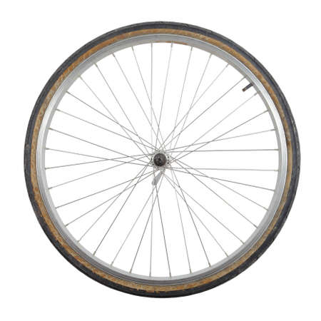 wheel: Bicycle wheel isolated on white background
