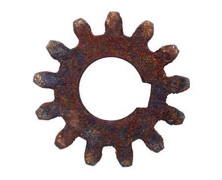 cogwheels: Rusty cogwheel on white background