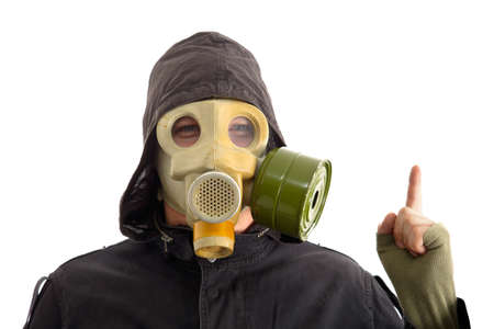 Man in gas mask, white background photo