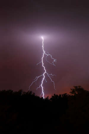 high voltage: Lightning strikes from the evening sky